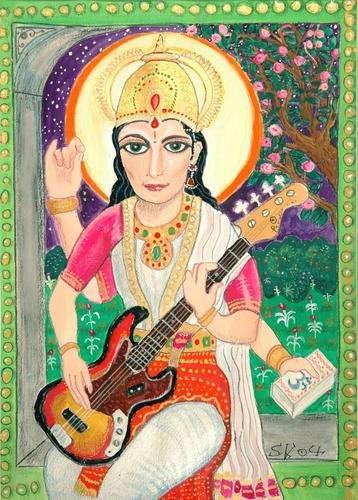 Saraswati artwork by Steve Kilbey (yes of The Church etc) URL http://thetimebeing.com